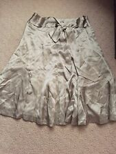 Brand New Miss Shop Silk Pleated Skirt with Bow Details in Pewter Colour Size 6