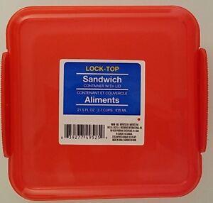 Lock-Top Reusable Sandwich Containers w Lids Plastic 1/Pk, Select: Color