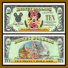 """Disney 10 Dollars, 1999 """"AA"""" Series 4 Digit Disneyland Minnie Uncirculated"""