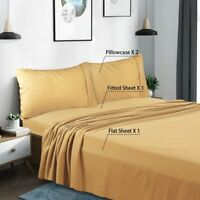 Full Size Bed Sheet 4 Piece Set Deep Pocket Fitted Sheet Shrink and Wrinkle Free