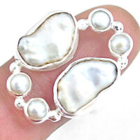 14.12cts Natural White Pearl 925 Sterling Silver Ring Jewelry Size 8.5 P45095