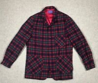 VINTAGE PENDLETON Mens Wool Blazer Jacket Shirt Red Black Plaid Size M