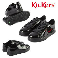 Kickers Tovni Lacer Teen Patent Leather Black Lace Up Back To School Shoes