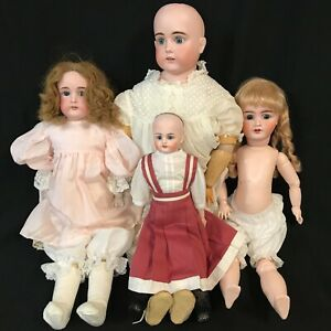 Antique German / French Bisque Head Dolls - Lot of 4 - Unknown Makers (Kestner?)