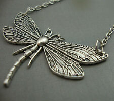 Antique Silver Plated Dragonfly Pendant Necklace Kitsch Art Nouveau