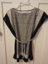 Vintage Womens Penny Lou Polyester Tunic Blouse Black White with Tie Belt