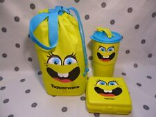 Tupperware Funny Smiley Face Lunch Set Sandwich Keeper Tumbler Bag Green New