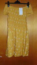 M&S Shirred Floral Print Off The Shoulder Dress 13-14yr 164cm Flame (Gold) BNWT