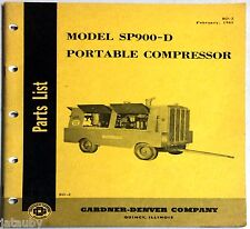 1961 Model Sp900D Portable Compressor Parts List Gardner-Denver Company