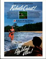 1984 United Airlines Kohala Coast Big Island Hawaii Travel Vintage Print Ad 1011
