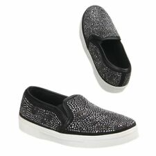 SLIP ON con STRASS scarpe da ginnastica sneakers donna nere glitter fashion 38