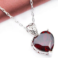 Fine Natural Heart Fire Red Garnet Gemstone Platinum Plated Necklace Pendant New