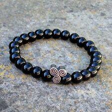 Men's women's shiny black onyx bead stone bracelet Celtic spiral Newgrange Irish