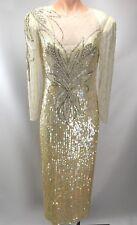 VTG Landa Ivory Iridescent Stunning Sequin Beaded Long Sleeve Gown Sz 14 Wedding