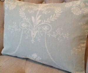 "12x15"" Laura Ashley cushion cover Josette Duck Egg & Austen Off White"