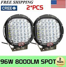 2X 9''inch 96W Cree Round Led Spot Driving Work Light For 4Wd Ute Bumper Black