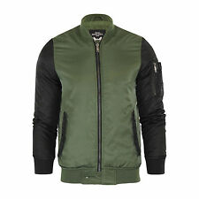 Mens Bomber Jacket Brave Soul Johnny MA1 Flight Coat With Contrast Arms