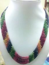Solid Designer 5 Strand Natural Multi Sapphire,Ruby,Emerald Gemstone Necklace