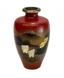 Japanese Hand Painted Patinated Gilt and Silver Bronze Vase