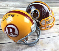 Lot of 2 Autographed Signed Washington Redskins Riddell Mini Helmet Santana Moss
