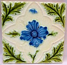 VINTAGE PORCELAIN TILE CERAMIC ENGLAND MAJOLICA ART NOUVEAU PURPLE COLLECTIB#162