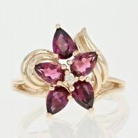 Rhodolite Garnet & Diamond Flower Ring - 10k Yellow Gold Pear Brilliant 1.91ctw