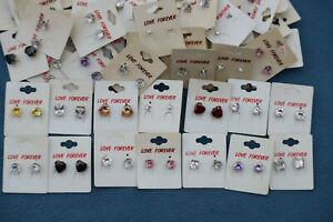 Love Forever Earrings Single Stone Studs x 60 Various Colours Costume Jewellery