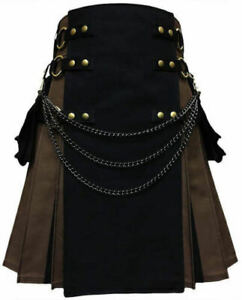 """Tactical Black & Brown Hybrid Kilt for Men Sizes (28"""" to 52"""") Inches"""