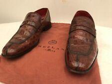 Mezlan Mens rare Genuine Crocodile penny loafer Dress Shoes Brown NICE