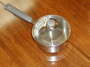 1QT FARBERWARE 18/10 STAINLESS STEEL POT WITH GLASS LID IMPACT BONDED EVEN HEAT