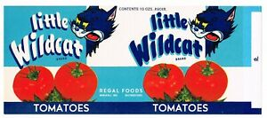 GENUINE CAN LABEL VINTAGE LITTLE WILD CAT SCARCE HELLCAT 1950S WINDFALL INDIANA