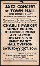CHARLIE PARKER Thelonious Monk SONNY ROLLINS Etc. RARE 1954 BEBOP CONCERT POSTER