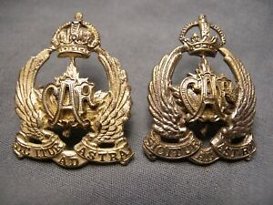 CANADIAN AIR FORCE COLLAR BADGES A.F.5 A.F.5a 1920-1924 CAF SIC ITUR AD ASTRA