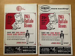 1968 Original Buffalo Bisons Programs, Set of 2, One Scored In Pencil As In Pic