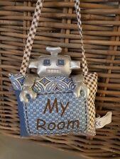 "SIA Kids  Roboter Kissen / Haken  "" My Room ""   Stoff blau   NEU"