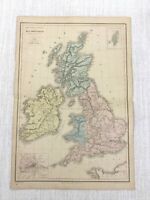 1877 Antique Map of The British Isles England Britain Hand Coloured 19th Century