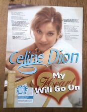 CELINE DION My Love Will Go On lyrics magazine PHOTO/Poster/clipping 11x8 inches