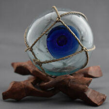 VTG Japanese Glass Fishing Float, Cobalt Blue Sealing Button, 5 DAY AUCTION