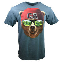 CA Bear Men's T-shirt - Cool bear with Shades and Beanie- Heather Slate S,M,L,XL