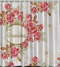 """PERSONALIZED SHOWER CURTAIN Pink Roses Butterflies Flowers Name 70"""" Fabric Decor"""