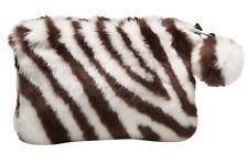 Pottery Barn Teen Faux Fur Zebra Small Makeup Toiletry Bag New