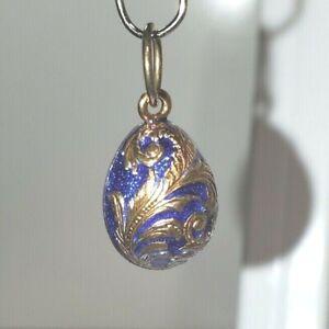 Antique Blue & Gold Paisley Enamel Russian Egg Pendant Sterling Silver Vermeil
