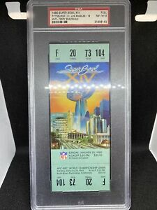 1980 Super Bowl XIV 14 Full Ticket Steelers v Rams Terry Bradshaw MVP PSA 8