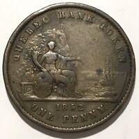 1852 Quebec Bank Token 1 One Penny Deux Sous Province du Canada