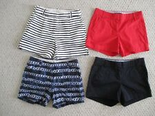 J Crew Set of 4 Shorts Size 0 Red Navy Striped