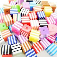 50 x 8mm Wholesale Acrylic Stripe Dice Bead Cube Square Spacer Mixed Colour UK