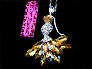 new Betsey Johnson Lovely Crystal skirt female Pendant Chain Sweater Necklace