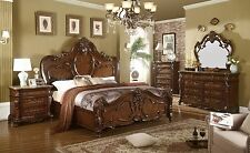 Victoria - 4 PC Traditional Brown Bedroom Set Furniture w/ Eastern King Bed