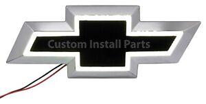 White LED Front Grille Black Bowtie Emblem Badge Decal Replaces GM Part 22829421