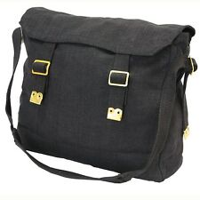 THE ORIGINAL BLACK BIKER MOTORCYLE MESSENGER HAVERSACK BAG MEDIUM